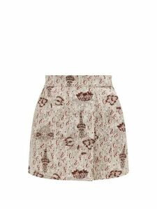 Sir - Stella Print Linen Mini Skirt - Womens - Beige