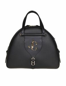 Jimmy Choo Varenne Bowling M Hand Bag In Black Leather