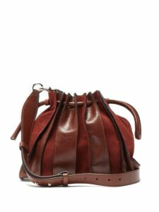Isabel Marant - Accordion Suede And Leather Bag - Womens - Dark Tan