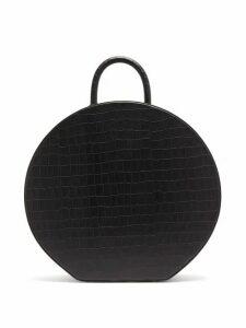 Sparrows Weave - Large Crocodile Effect Leather Handbag - Womens - Black