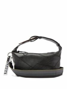Ganni - Patchwork Leather Shoulder Bag - Womens - Black