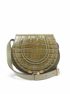 Chloé - Marcie Mini Crocodile Effect Leather Bag - Womens - Khaki