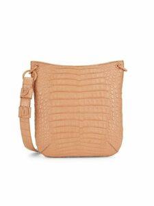 Textured Crocodile Leather Crossbody Bag