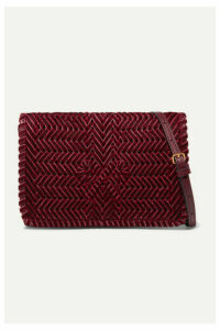 Anya Hindmarch - The Neeson Woven Velvet Shoulder Bag - Red