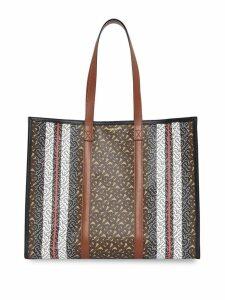 Burberry Monogram Stripe E-canvas Tote Bag - Brown