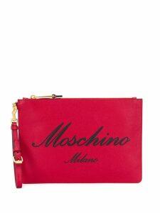Moschino logo zipped clutch - Red