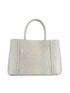 Python Leather Top Handle Bag