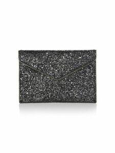 Leo Glitter Leather Envelope Clutch