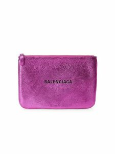 Large Everyday Metallic Leather Pouch