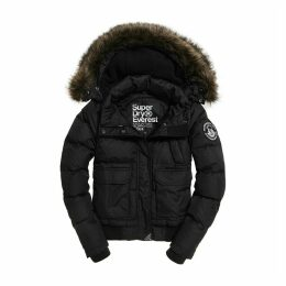 Everest Ella Bomber Padded Jacket with Faux Fur Hood and Pockets