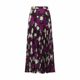 Erdem Nesrine Floral-print Satin Midi Skirt