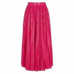 MSGM Fuchsia Pleated Sequin Midi Skirt