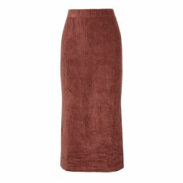 Free People Helen Burgundy Stretch-velvet Midi Skirt