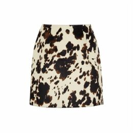 ALEXACHUNG Cow-print Faux Calf Hair Mini Skirt