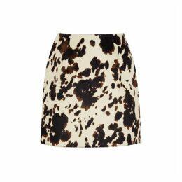 ALEXACHUNG Cow-print Faux Calf Hair Mini Skirt
