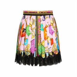 Versace Printed Pleated Silk Mini Skirt