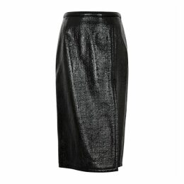 No.21 Black PVC-coated Pencil Skirt