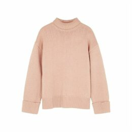 Victoria, Victoria Beckham Light Pink Roll-neck Wool Jumper