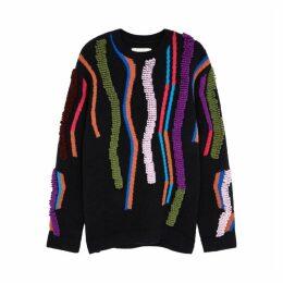 Peter Pilotto Navy Intarsia Wool-blend Jumper