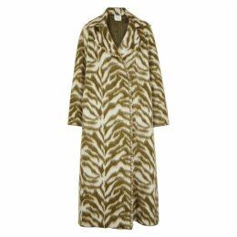 Forte forte Olive Zebra-jacquard Wool-blend Coat