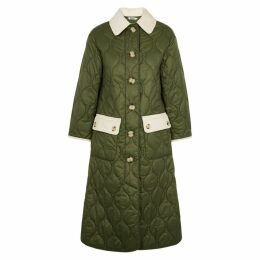 BARBOUR X ALEXA CHUNG Annie Army Green Quilted Shell Coat