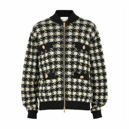 Gucci Houndstooth Cashmere-blend Bomber Jacket