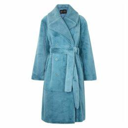 Stine Goya Happy Blue Faux Fur Coat