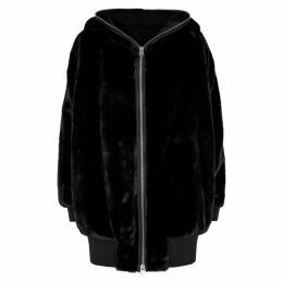 Free People Black Faux Fur Hooded Jacket