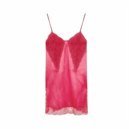 Philosophy Di Lorenzo Serafini Fuchsia Lace-trimmed Satin Slip Dress