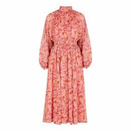 ByTiMo Pink Floral-print Chiffon Midi Dress