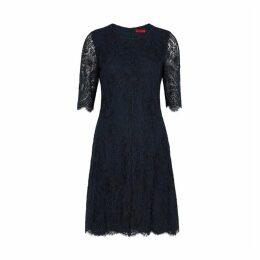 HUGO Kirelia Navy Lace Dress