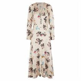 Forte forte Ivory Printed Silk Maxi Dress