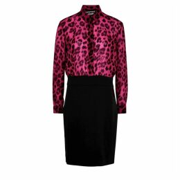 Boutique Moschino Pink And Black Leopard-print Dress
