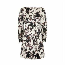 ALEXACHUNG Cow-print Satin Mini Dress