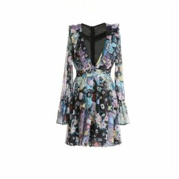 Comino Couture Blue Kaledioscope Plunge Mini Dress