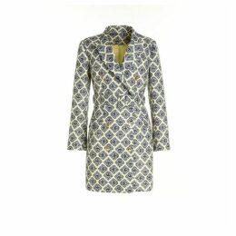 Comino Couture Yellow And Mono Diamond Tile Blazer