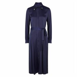 Victoria, Victoria Beckham Navy Belted Satin Shirt Dress