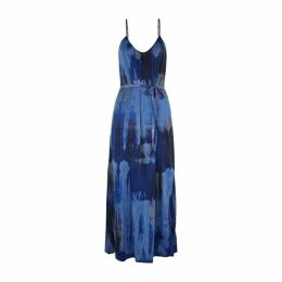 RAQUEL ALLEGRA Blue Tie-dyed Silk-blend Dress