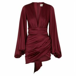 Alexandre Vauthier Burgundy Ruched Stretch-silk Mini Dress