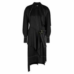 Proenza Schouler Black Belted Gabardine Shirt Dress