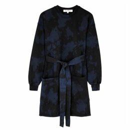Proenza Schouler Indigo Tie-dyed Jersey Sweatshirt Dress