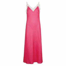 Walk Of Shame Polka-dot Printed Silk Slip Dress