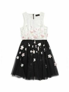 Girl's Floral Applique Fit-&-Flare Dress