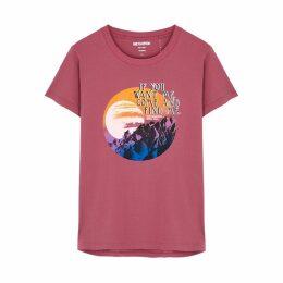 Oneteaspoon Lost Moon Pink Cotton T-shirt