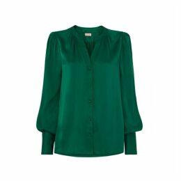 Kitri Penny Green Silk Blouse
