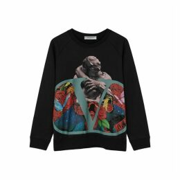 Valentino Go Logo Lovers Black Cotton-blend Sweatshirt