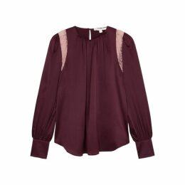 Jonathan Simkhai Burgundy Lace And Silk-blend Blouse