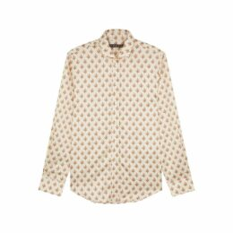 ALEXACHUNG Ivory Floral-print Satin Shirt