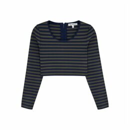 Good American Striped Cropped Jersey Top