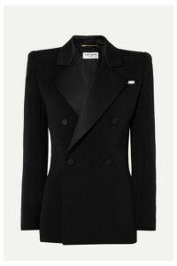 SAINT LAURENT - Silk Satin-trimmed Wool Mini Dress - Black